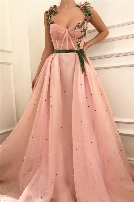 Gorgeous Pink Tulle Burgundy Sash Prom Dress See Through Bodice Sweetheart Formal Dresses with Pearls