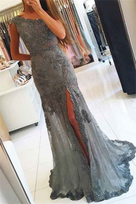 Elegant Scoop Beading Lace Mermaid Prom Dress Sexy Front Slit Appliques Evening Dresses with Rhinestones