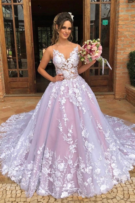Sexy Spaghetti Straps Lace Pink Wedding DressV-Neck Appliques Bridal Gowns On Sale