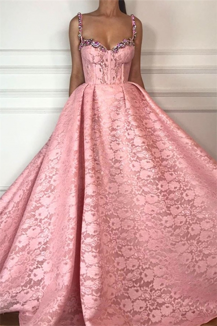 Simple Beadings Straps Sweetheart Lace Prom Dress Sleeveless Pink Appliques Evening Dresses