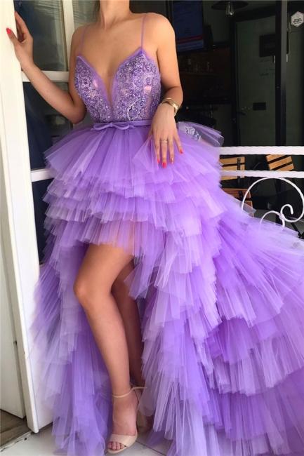 Fantastic Spaghgtti Straps Deep V-Neck Prom Dress Hi-Lo Sleeveless Appliques Evening Dresses Online
