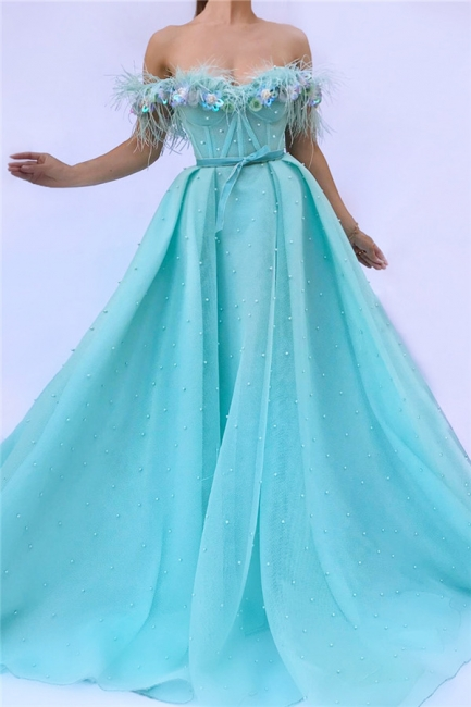 Sexy Tulle Feather Sleeveless Prom Dress Off-the-Shoulder Long Formal Party Dresses with Pearls