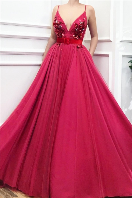 Affordable Spaghetti Straps Ruffle Burgundy Prom Dress Tulle V-Neck Flower Beading Formal Dresses with Sash