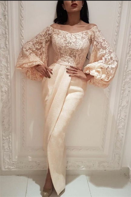 Chic Lace Off-the-Shoulder Long Prom Dress Long Sleeves Mermaid Evening Dresses with Slit