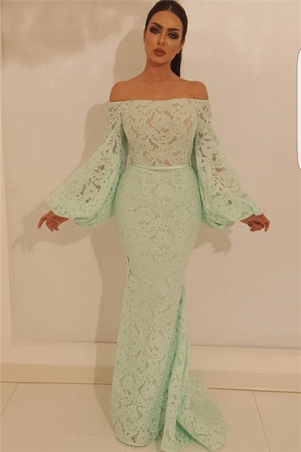 Fantastic Mermaid Off-the-Shoulder Prom Dress Lace Long Sleeves Formal Party Dresses On Sale