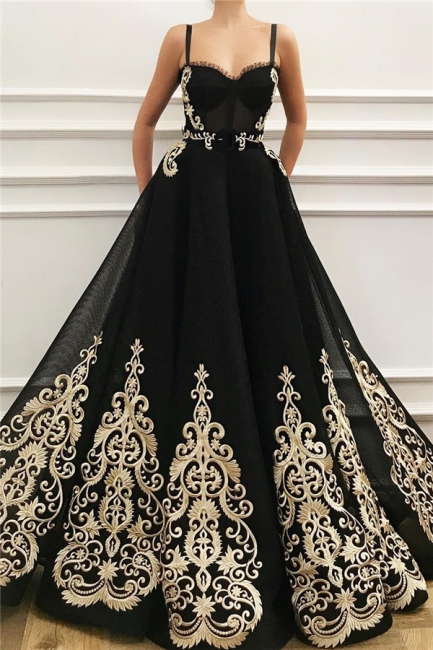 Gorgeous Straps Sweetheart Black Tulle Prom Dress Sleeveless Champagne Appliques Evening Dresses