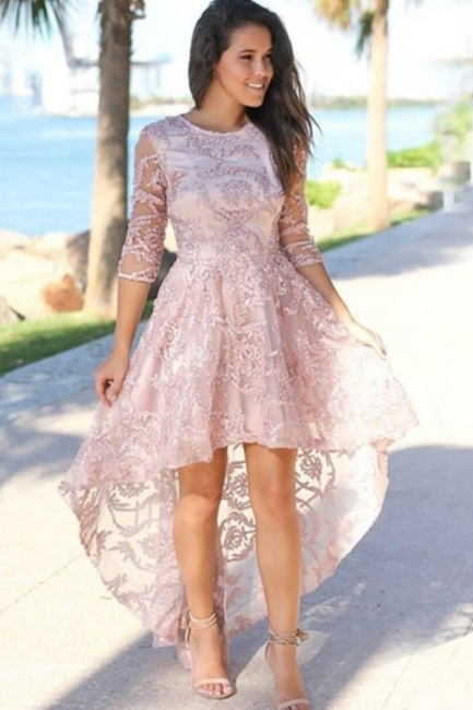 Glamorous Hi-Lo Jewel Lace Beading Prom Dress 3/4 Sleeves Appliques Party Dresses with Rhinestones
