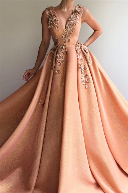 Modest Sequins V-Neck Lace Ruffles Prom Dress Sleeveless Appliques Formal Dresses On Sale