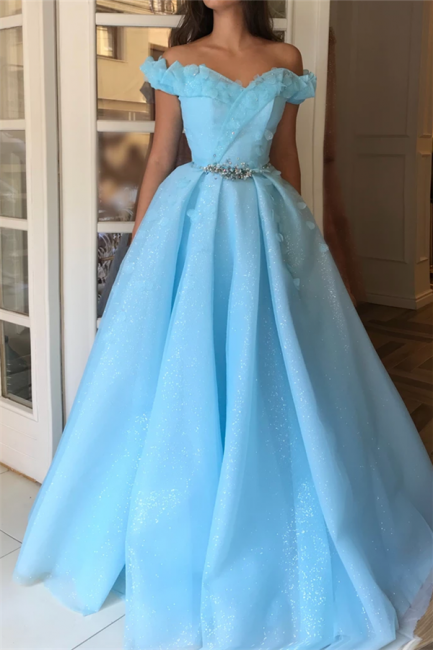 Fantastic Off-the-Shoulder Sweetheart Prom Dress Sequins Ruffles Sleeveless Beading Party Dresses with Flowers