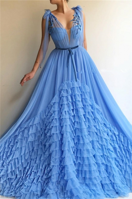 Modest Tulle Deep V-Neck Sleeveless Prom Dress Blue Layers Long Formal Party Dresses with Sash