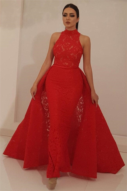 High Neck Sleeveless Red Lace Prom Dress Mermaid Long Evening Dresses with Detachable Skirt