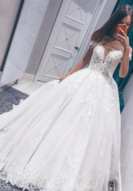 Glamorous Fantastic V Neck Lace Long Wedding Dresses Off the Shoulder White Bridal Gowns On Sale