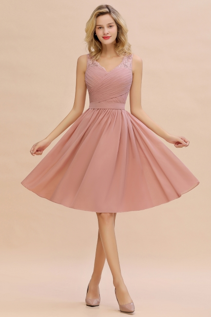 Fantastic A-Line V-Neck Knee Length Dusty Rose Prom Dress Chiffon Short Party Dresses with Pleats Online