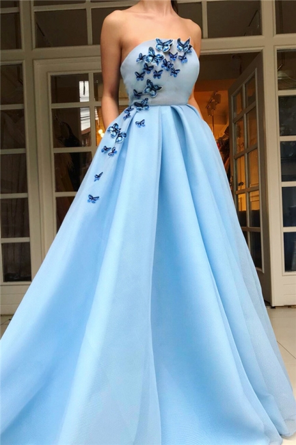 Glamorous Strapless Sleeveless Ruffles Prom Dress Blue Tulle Long Party Dresses with Butterfly