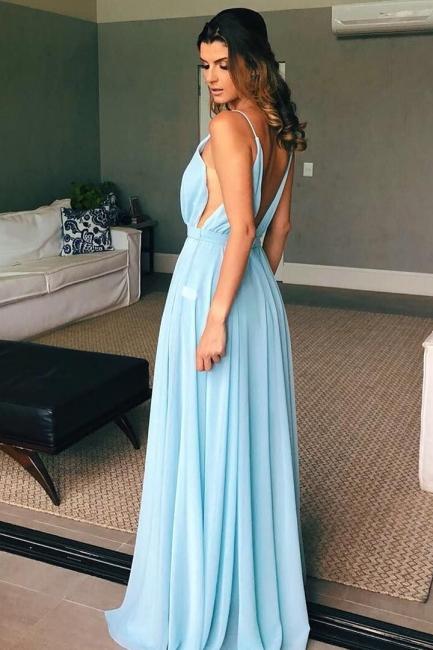 Sexy Spaghetti Straps Deep V-Neck Prom Dress Modest A-Line Long Chiffon Evening Dresses