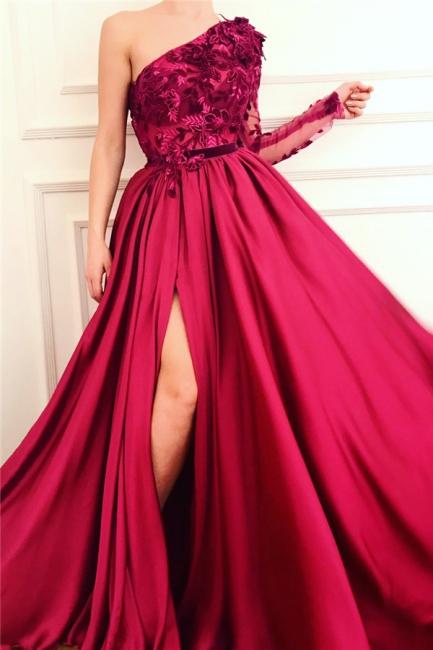 Sexy One-Shoulder Appliques Burgundy Prom Dress One Sleeve Front Slit Evening Dresses Online