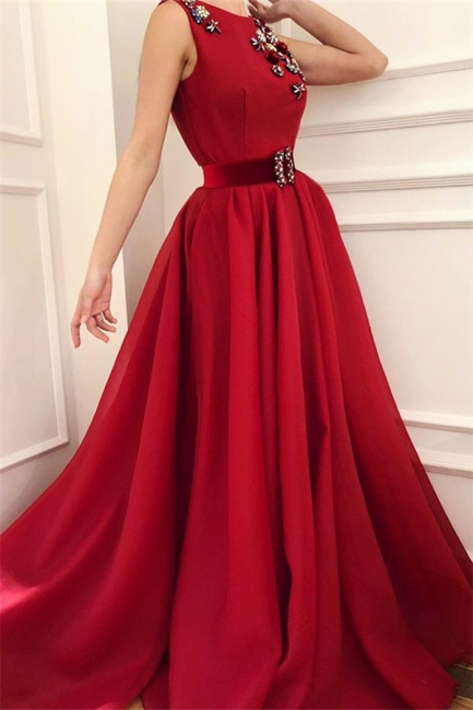 Simple Satin A-Line Flowers Red Prom Dress Scoop Sleeveless Sash Evening Dresses with Dragonfly