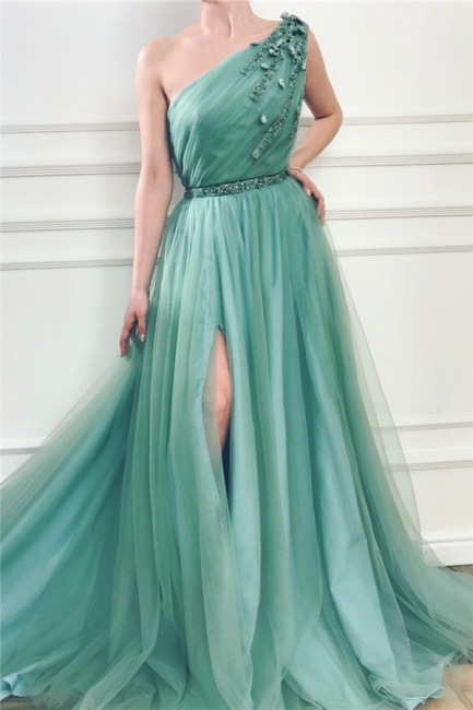 Sexy One-Shoulder Green Tulle Prom Dress Front Slit Evening Dresses with Beading Sash