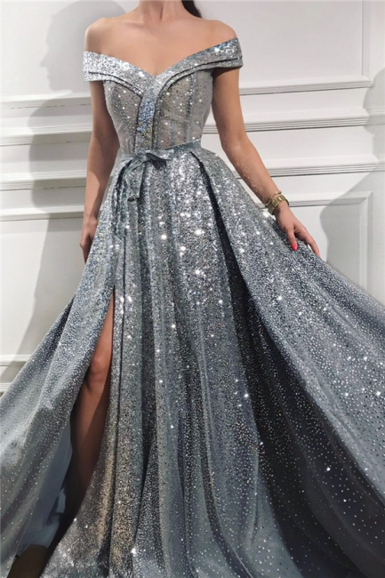 Gorgeous Off-the-Shoulder Sweetheart Sleeveless Prom Dress Stunning Sequins Front Slit Evening Dresses Online