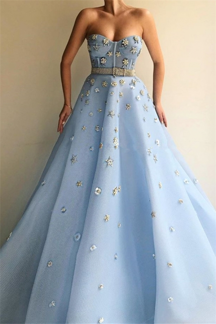 Gorgeous Strapless Sweetheart Beading Prom Dress Blue Tulle Flowers Party Dresses with Beadning Sash
