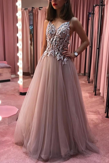 Chic A-Line V-Neck Long Prom Dress See Through Bodice Formal Dresses with Appliques