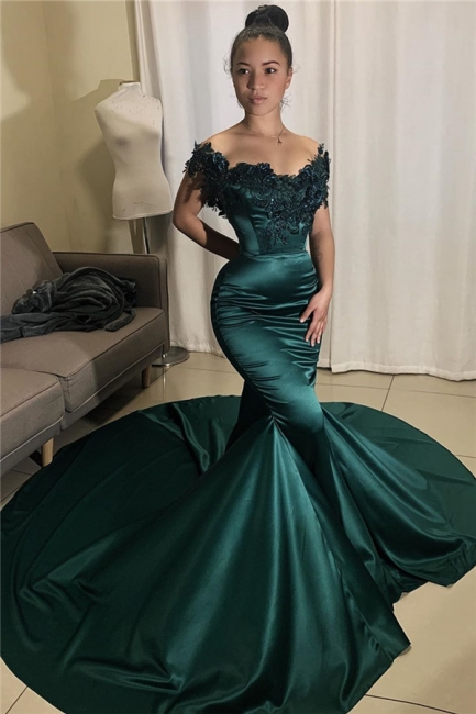 Stunning Off-the-Shoulder Prom Dresses Mermaid Appliques Formal Dresses