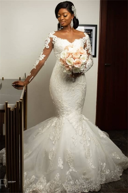 Gorgeous Sweetheart Appliques Mermaid Wedding Dresses Long-Sleeves Lace Bridal Gowns On Sale