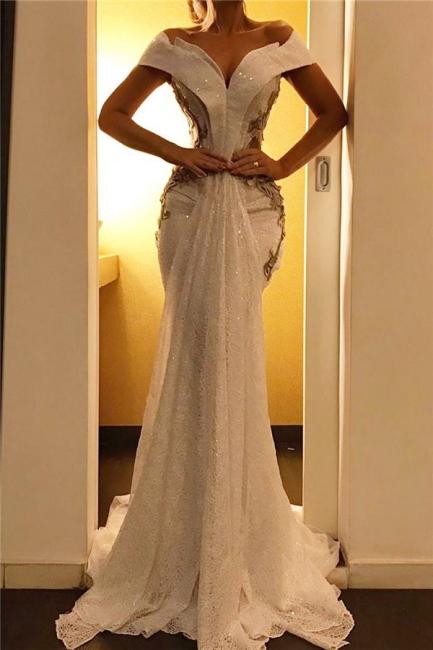 Elegant Off-the-Shoulder Sweep Train Prom Dresses Mermaid Sweetheart Evening Dresses