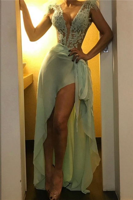 Modest Green Straps Lace See-Through Prom Dresses Chiffon Appliques Formal Dresses
