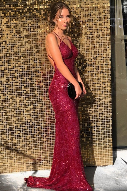 Sexy Burgundy Sequined Mermaid Prom Dresses V-Neck Spaghetti Straps Formal Party Dresses On Sale