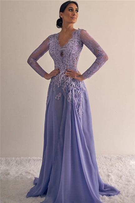 Affordable Long Sleeves V-Neck Appliques Prom Dresses A-line Lace Formal Dresses