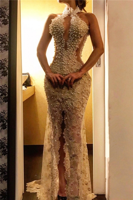 Sexy Beading Halter Keyhole Lace Mermaid Prom Dresses Appliques Front Slit Formal Party Dresses