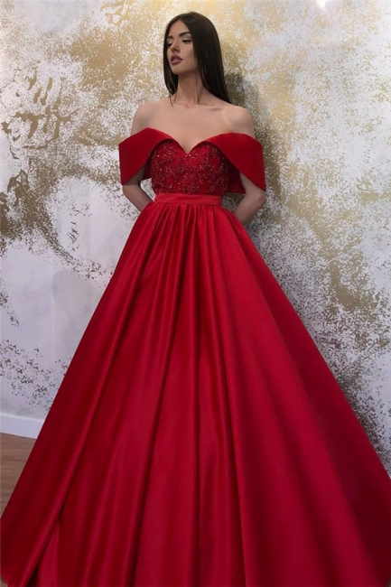 Glamorous Off-the-shoulder Sweetheart Prom Dresses Belted A-line Puffy Formal Dresses