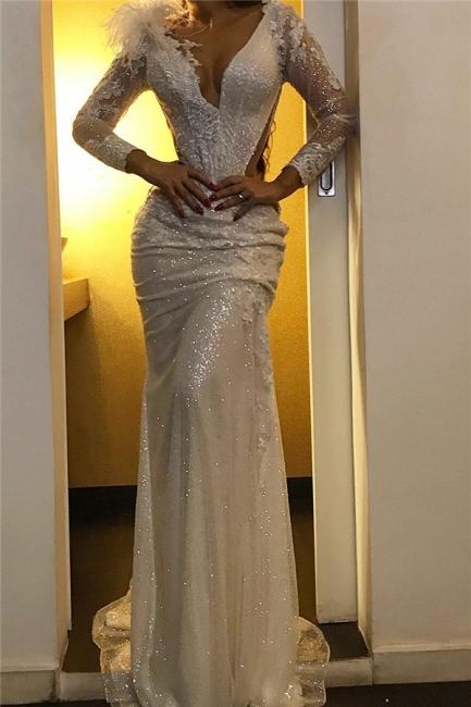 Glamorous Deep V-Neck Sweep Train Prom Dresses Sheer Long Sleeves Evening Dresses