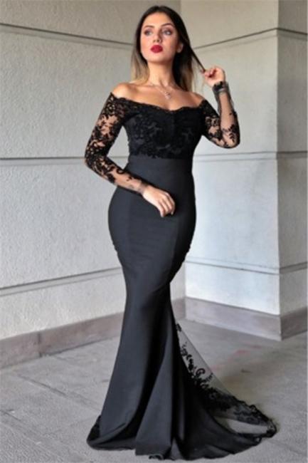 Elegant Off-the-Shoulder Mermaid Prom Dresses Black Appliques Long Sleeves Formal Dresses Online