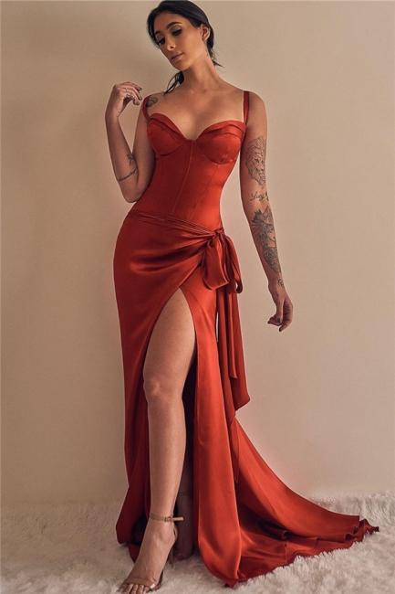 Elegant Straps Sweetheart Prom Dresses Sweep Train Side Slit Evening Dresses