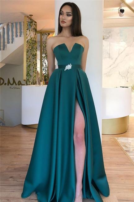 Sexy Strapless V-Neck Belted Prom Dresses Slit Long Formal Party Dresses