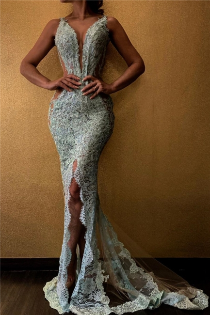 Chic V-Neck Lace Mermaid Prom Dresses Appliques Evening Gowns with Front Slit Online