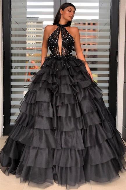 Stunning Halter Keyhole Layers Prom Dresses Sheer Top Sleeveless Evening Dresses