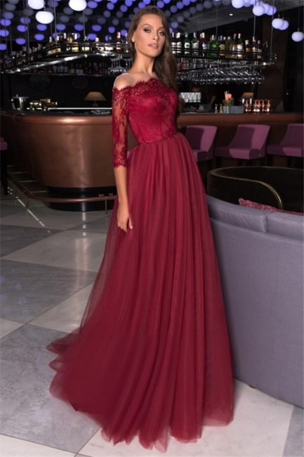 Sexy Off-the-Shoulder Lace Tulle Prom Dresses A-Line Appliques Evening Dresses
