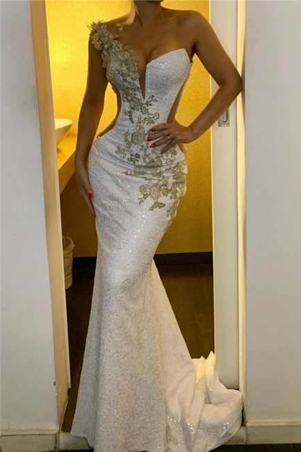 Glamorous One-Shoulder Strap Backless Prom Dresses Sexy Mermaid Evening Dresses
