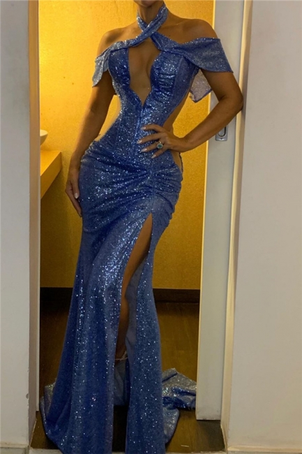 Sexy Sequined Mermaid Prom Dresses Front Slit Backless Formal Gowns Online