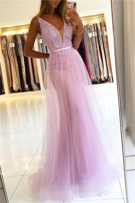 Modest Straps V-Neck Lace Tulle Prom Dresses A-line Backless Formal Party Dresses