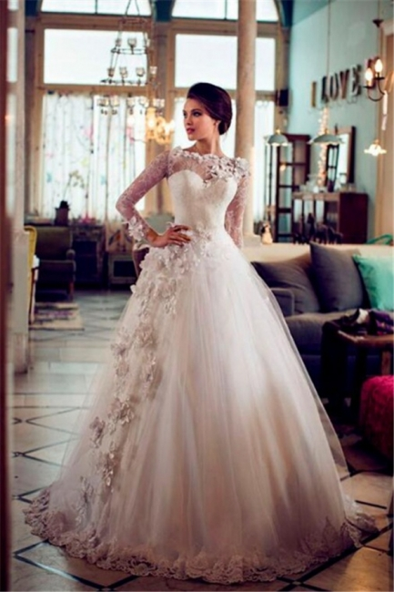 Elegant A-line Long Sleeves Wedding Dresses Floral Appliques Tulle Bridal Gowns On Sale