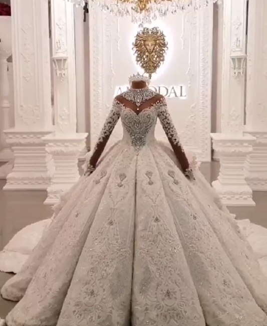 Luxury Ball Gown High-Neck Wedding Dresses Sparkly Beadings Long Sleeves Applique Bridal Gowns