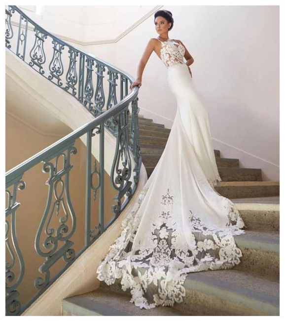 Affordable Spaghetti Strap White Wedding Dress Lace Appliques Chapel Train Bridal Gowns On Sale