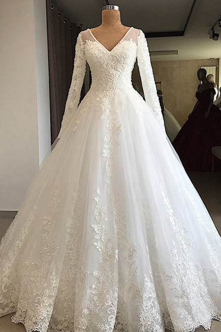 Gorgeous V-Neck Lace Wedding Dresses Long Sleeves White Princess Bridal Gowns On Sale