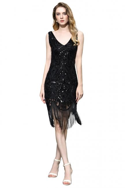 Gorgeous Black Straps V-Neck Applique Lace Sequined Prom Dresses Sheath Appliques Short Formal Dresses