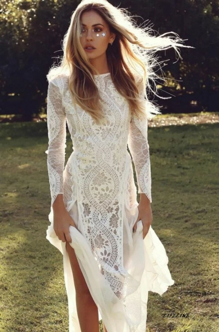 Chic Jewel White Mermaid Wedding Dresses Long Sleeveless Lace Bridal Gowns On Sale