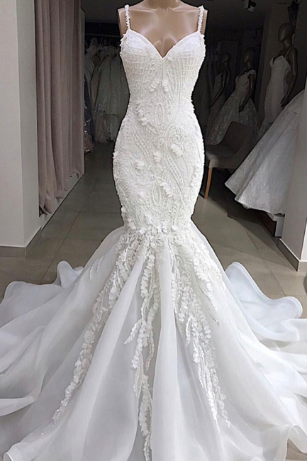 Glamorous Spaghetti Straps Lace Mermaid Wedding Dresses V-Neck White Appliques Bridal Gowns On Sale